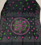 Kantha Work Saree Assam Silk- Black Pink - KK012 - Phulari