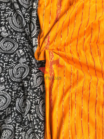 Khesh Saree Handloom Cotton Gujjari Print - Mango Yellow Black - Phulari