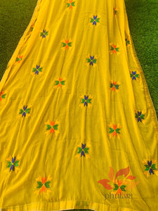 Traditional Simple Floral Butti Phulkari Dupatta - Yellow - Phulari