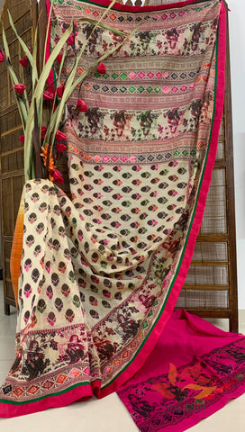 Exclusive Hand Painted & Embroidered Phulkari Fusion Chanderi Saree - Figures