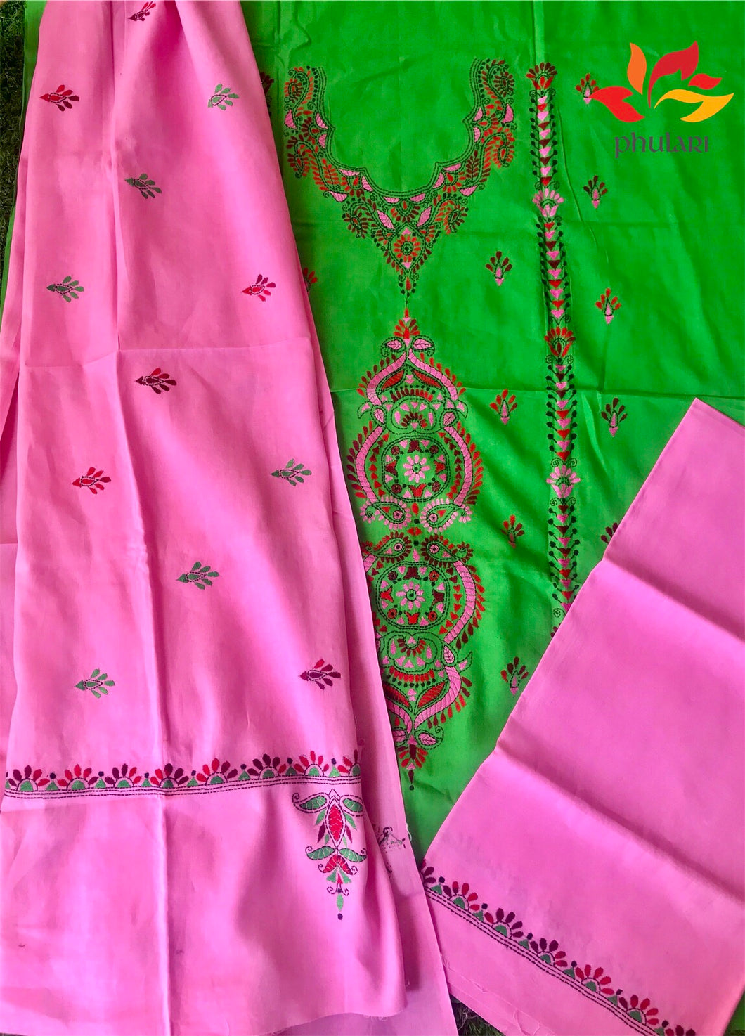 Kantha Work Suit Unstitched Fabric Cotton - Green Pink - Phulari