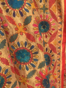 Hand Embroidered Madhubani Chanderi Dupatta- Red Circles Multicolour - Phulari