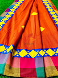 Khadhi Saree appliqué patch work foil mirror - Orange - Phulari