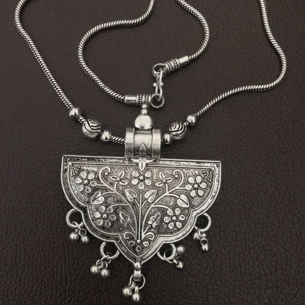 Oxidised Chain Pendant With Floral Design - Phulari