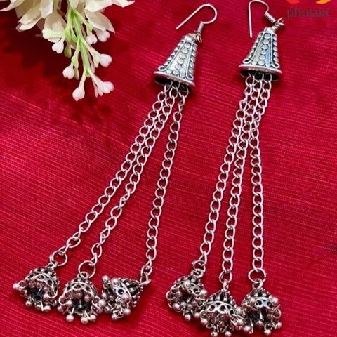 Kashmiri Style Long Oxidised Multi Strand Jhumki Earrings - Phulari