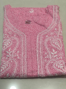 Cotton Brasso Print with Chikankari Kurta- Light Pink