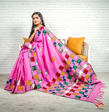 Load image into Gallery viewer, Khesh Cotton With Appliqué  Boul Patch Work saree – Rose Pink - Phulari