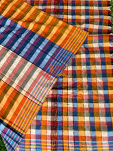 Load image into Gallery viewer, Khesh Saree Handloom Cotton Checks - Orange Blue - Phulari