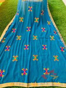 Traditional Simple Floral Butti Phulkari Dupatta - Blue - Phulari