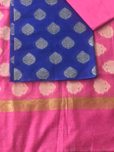 Load image into Gallery viewer, Banarasi Suit Fabric Unstitched Cotton Silk - Royal Blue Pink - Phulari