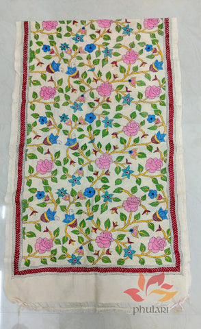 Handcrafted Kantha embroidery Pure Tussar Stole - Floral Vine