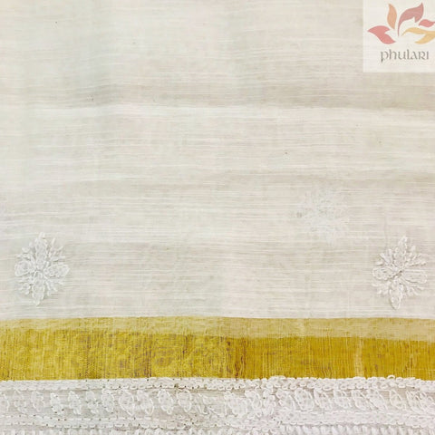 Chanderi Chikankari Dupatta With Zari Border- White - Phulari