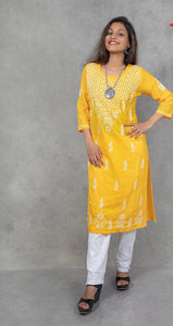 Chikankari Cotton Long Kurta - Yellow - Phulari