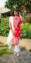 Load image into Gallery viewer, Chikankari Georgette Dori Kurti- Red - Phulari