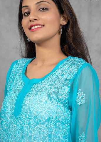 Short Chikankari Georgette Kurti Floral Jaal - Light Blue - Phulari
