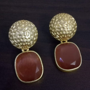 Handmade Stone Matt Finish Gold Earrings - Wine - Phulari