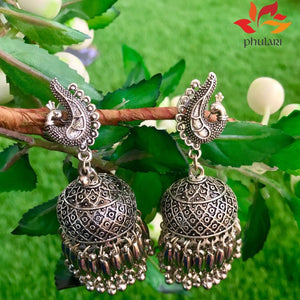 Oxidized Chunky Peacock Jhumki with Button Earrings - Phulari