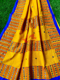 Bangladeshi Tant Saree Embroidery Foil Mirror Work - Yellow Blue - Phulari