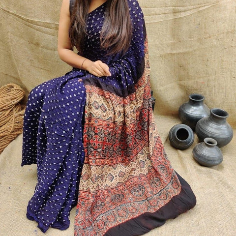 Modal Silk Bandhani Saree with Ajrakh Pallu - Dark Blue