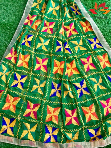 Traditional Light Bagh Phulkari Dupatta (PE01) - Green - Phulari