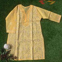 Load image into Gallery viewer, Gota Chikankari Cotton Kurti - Mango Yellow - Phulari