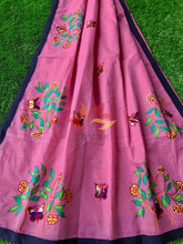 Load image into Gallery viewer, Bangladeshi Tant Saree Appliqué Work Embroidery Butterfly - Pink - Phulari