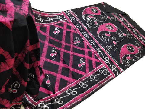 Bagru Hand Printed Saree Cotton - Pink Black - Phulari