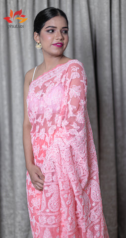 Georgette Chikankari Saree Full Jaal Work - Candy Peach - Phulari