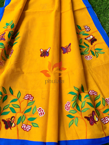 Bangladeshi Tant Saree Appliqué Work Embroidery Butterfly - Yellow - Phulari