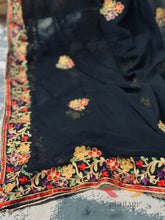 Load image into Gallery viewer, Georgette Kashmiri Embroidered Dupatta - Black - Phulari