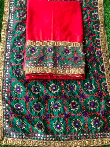 Phulkari Dress Hand Embroidered Unstitched Fabric - Red Green - Phulari
