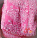 Georgette Chikankari Saree Full Jaal Work - Candy Peach