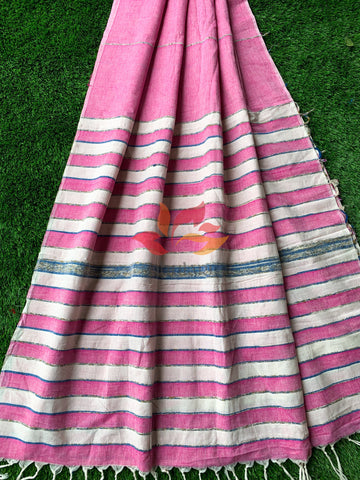 Khesh Cotton Saree Handloom - Light Pink White - Phulari
