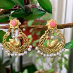Swan pearl matt finish gold earrings - pink - Phulari