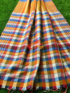 Khesh Saree Handloom Cotton Checks - Orange Blue - Phulari