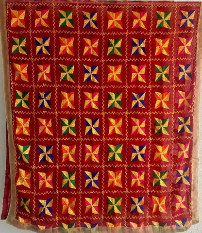 Traditional Light Bagh Phulkari Dupatta (PE01) - Maroon - Phulari