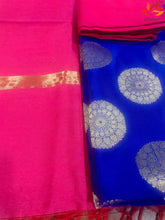 Load image into Gallery viewer, Banarasi Suit Unstitched Fabric Cotton Silk - Blue Pink - Phulari