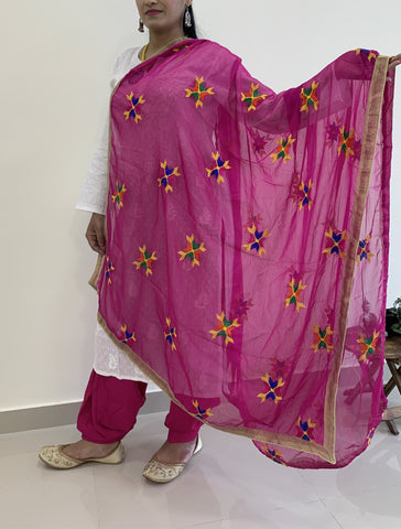 Semi Patiala Salwar With Phulkari Dupatta (Combo) - Hot Pink