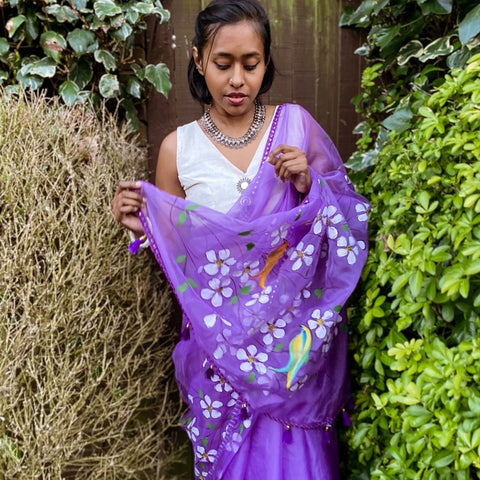 Organza Hand-Painted Saree with Flowers - Purple