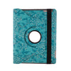 iPad Mini 1 2 3 Fancy Rotating Black Flower PU Leather Case with 360 Degree