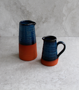 Blue on Red Small Jug with handle