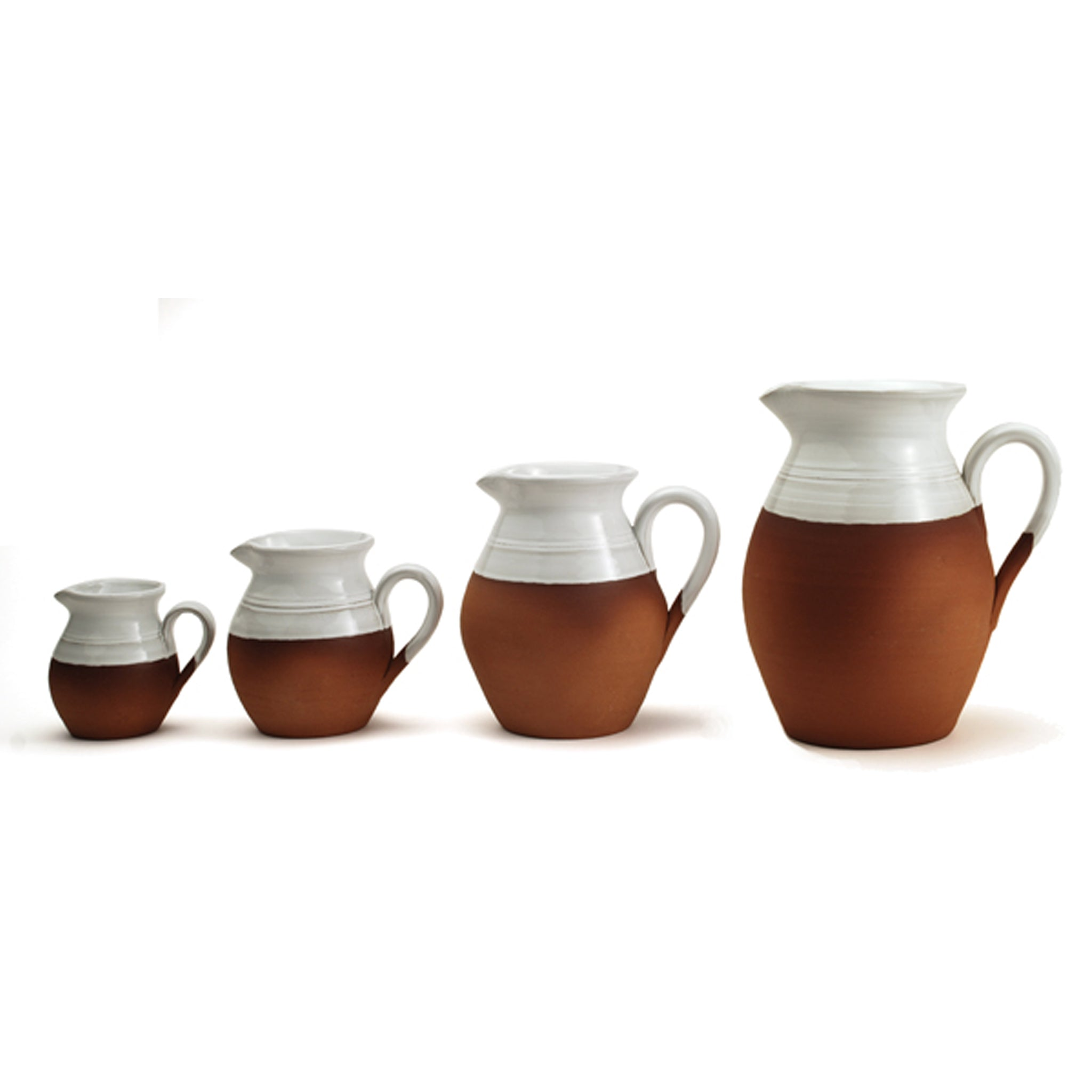 Classic Jug Collection - natural terracotta with a splash of white glaze