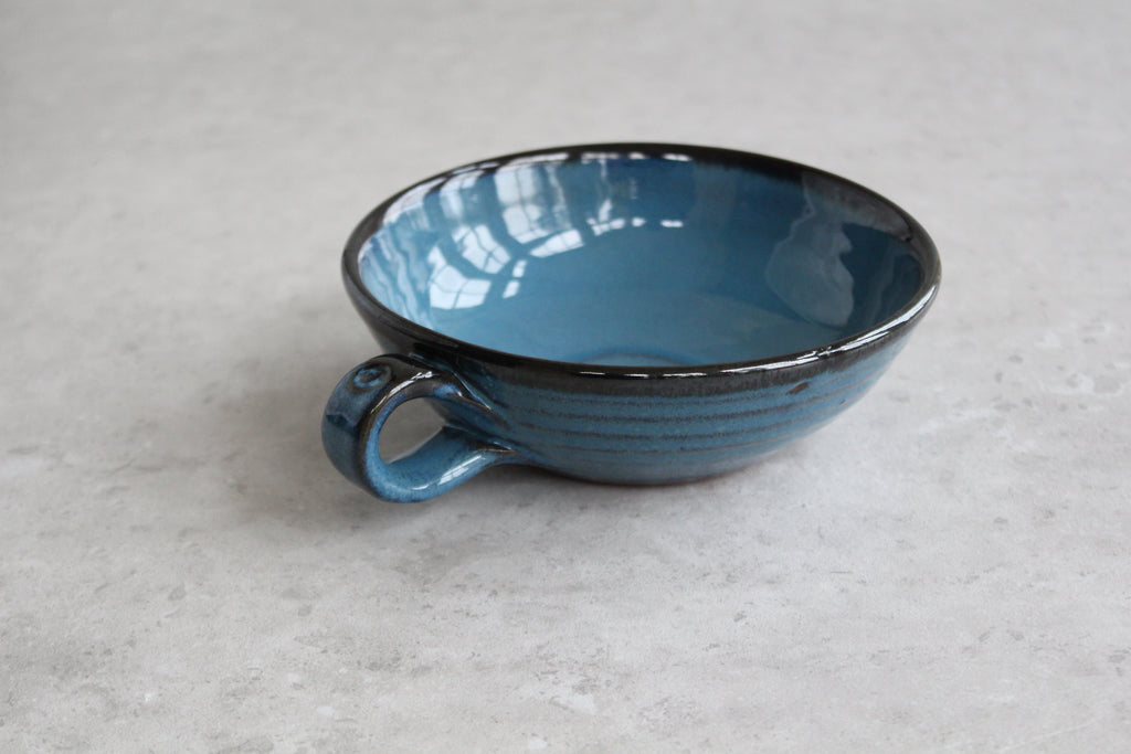 Mystic Blue Handled Dessert Bowl