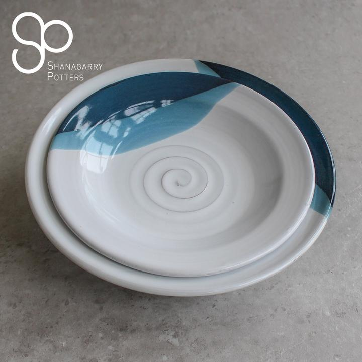 Atlantic Wave Personalised Small Shallow Wide Rimmed Bowl