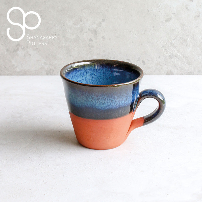 Blue on Red Flared Mug