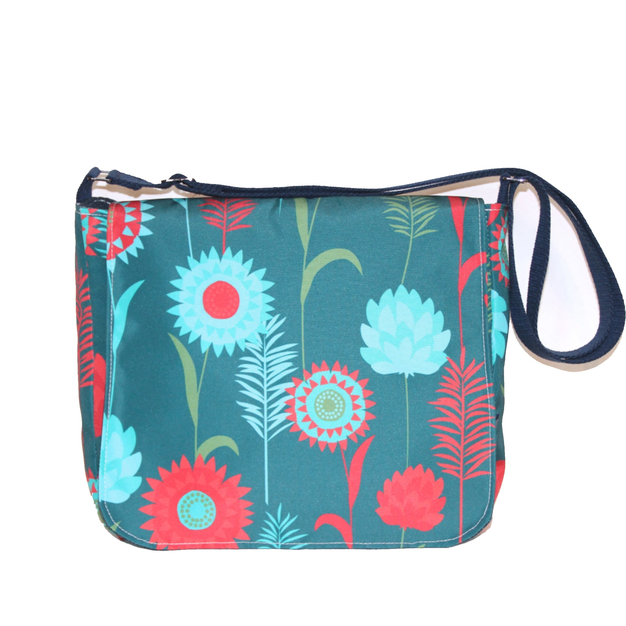 Sallyann Cross Body Messenger Bag Small Green Meadow