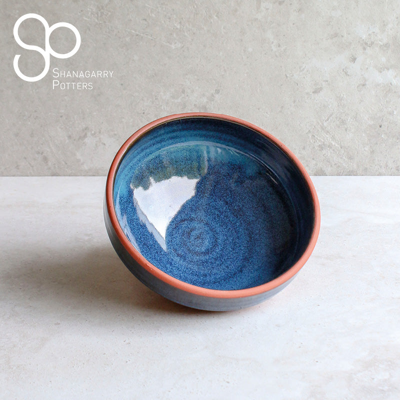Blue on Red Medium Bowl