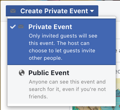 Private or Public event dropdown Facebook