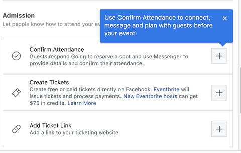 Facebook event ticket options