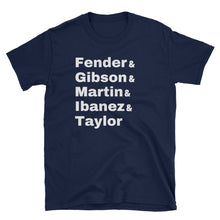Load image into Gallery viewer, Fender Gibson Martin Ibanez Taylor Gildan Tee - Indie Band Coach